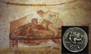 Portada - Pintura mural de un burdel de Pompeya. (Thomas Shahan/CC BY 2.0) Inserto: Moneda de burdel romana.