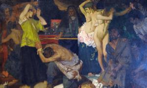 Portada - Las lemnias, óleo de William Russell Flint. Abandonadas por sus esposos en favor de esclavas capturadas en la cercana Tracia, las mujeres de Lemnos respondieron a esta afrenta masacrando primero a sus maridos y a continuación al resto de hombres y varones de la isla. (CC BY NC-ND 2.0)