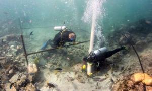 Portada-Equipos de arqueólogos submarinos inspeccionando los restos del 'Esmeralda', barco portugués hundido junto a las costas de Omán hace más de quinientos años. La exploración del lugar del naufragio comenzó en el año 2013. (Fotografía: esmeraldashipwreck.com/La Gran Época)