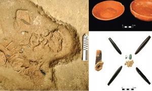 Portada - Cinco de los niños sacrificados fueron hallados en un enterramiento múltiple. (Flory Pinzón) Se encontraron ajuares funerarios que incluían piezas de obsidiana en otro enterramiento con dos niños sacrificados. (Takeshi Inomata)