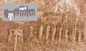 Portada - Geoglifo de Nazca recientemente descubierto en el que se pueden observar lo que parecen ser extrañas criaturas imaginarias. Fotografía: Andina