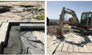 Portada - las obras de construcción que se están llevando a cabo en Göbekli Tepe. Crédito: Çiğdem Köksal Schmidt