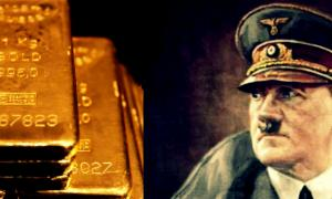 Portada - Retrato de Adolf Hitler (Public Domain) y lingotes de oro (Public Domain)