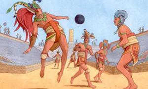"""Portada - Juego de pelota mesoamericano conocido más tarde como 'Ulama' en el que se utilizan actualmente las reglas del """"pelota-cadera"""". (Imagen: jdellaer)"""
