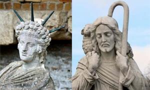 Portada - A la izquierda: detalle de una estatua de Atis reclinado. El Santuario de Atis se encuentra en Ostia (Italia), al este del Campus de la Magna Mater. (archer10/CC BY SA 2.0) Derecha: Estatua de Jesucristo como buen pastor con un cordero. (Dominio público)