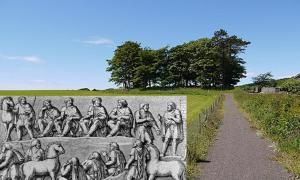 Portada - Cnoc an Rath, isla de Bute, Escocia. (Paul Duffy) Dibujo de un 'thing' germánico realizado a partir de un relieve de la Columna de Marco Aurelio (193 d. C.) (Public Domain)