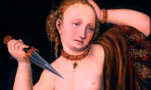 Portada - 'Lucrecia', óleo de Lucas Cranach el Viejo. El suicidio de Lucrecia es un ejemplo bien conocido de suicidio en la antigua Roma. Fuente: Museo Soumaya