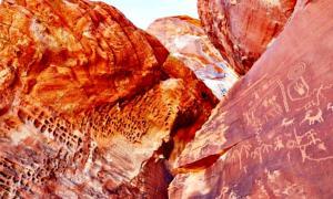 Portada - Fotografía de petroglifos pertenecientes al Parque estatal Valle del Fuego de Nevada, Estados Unidos. (Fotografía: Ekaterina Pokrovsky/Shutterstock/La Gran Época)