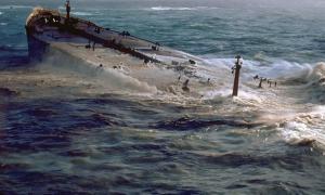 Portada-Petrolero hundiéndose: el AMOCO CADIZ varado y vertiendo petróleo al mar. Bretaña, Francia. Fotografía: Public Domain
