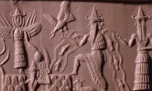 Portada - Sello cilíndrico de Adda. La figura central con corrientes de agua y peces fluyendo de sus hombros es Ea (versión acadia de Enki), dios de las aguas subterráneas y la sabiduría. Museo Británico/CC BY NC SA 4.0