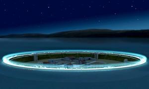 Portada - Recreación informática del posible aspecto durante la noche de la isla artificial proyectada para albergar la antigua ciudad sumergida de Seutópolis. (Proyecto Seutópolis)