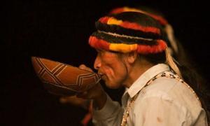 Portada - Indígena de Perú tomando una medicina tradicional. Crédito: Pachamama Alliance
