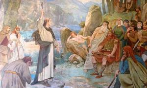 Portada - San Columba convierte al cristianismo al rey Brude de los pictos, Galería Nacional Escocesa de Retratos (CC BY-SA 3.0)
