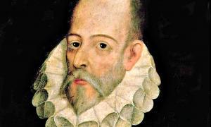 Portada - Retrato al óleo de Miguel de Cervantes Saavedra atribuido a Juan de Jáuregui y Aguilar (c. 1583-1641). Real Academia de la Historia de Madrid, España. (Public Domain)