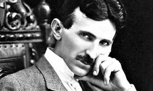 Portada - Detalle de un retrato fotográfico de Nikola Tesla a los 40 años de edad. (Public Domain)