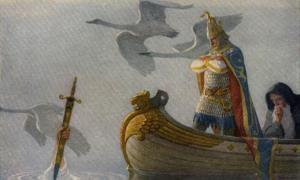Portada - Ilustración de la página 16 del libro 'The Boy's King Arthur'.