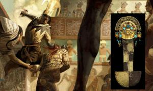 Portada - Ilustración de un sacrificio mochica (Anthropology.net). Detalle: Tumi ceremonial de oro (Ayllu Astur)