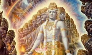 Portada - El Purusha u 'hombre cósmico' tiene mil cabezas y penetra la tierra y el universo entero en todas direcciones. (In The Vedas)