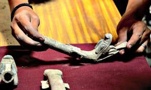 Portada - Fotografía de algunos de los sahumadores prehispánicos recuperados recientemente en México cuyos mangos policromos están rematados con elaboradas representaciones de cabezas de serpiente con las fauces abiertas o xiuhcóatl. (Fotografía: Mauricio Marat/INAH)