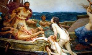 Portada - Ulises (Odiseo) y las sirenas, óleo pintado en torno al 1909 por Herbert James Draper. (Dominio público)