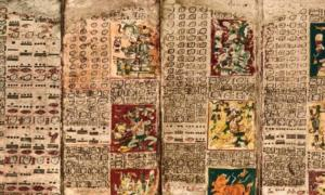 Portada - Fotografía del Códice de Dresde maya, en cuyas páginas se encuentra la famosa Tabla de Venus. (Fotografía: La Gran Época/UCSH)
