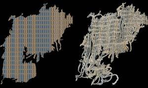 Diagrama y fotografía de un retazo de algodón hallado en el asentamiento de Huaca Prieta (Perú) y que presenta franjas teñidas de azul índigo. (Splitstoser y colaboradores)