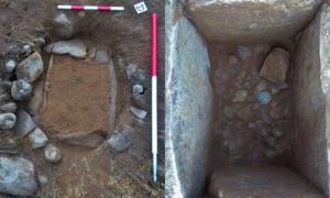 Portada - Tumba de la Edad del Bronce descubierta recientemente cerca del lago Ness. Izquierda: la tumba en el momento del hallazgo, derecha, una vez realizadas las excavaciones. (Crédito: AOC Archaeology).
