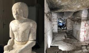 Portada - Estatua del sacerdote y alto funcionario Kaires hallada en una tumba recientemente descubierta en Egipto. Fuente: Instituto Checo de Egiptología, Universidad Carolina, Praga