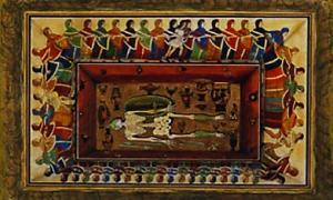 Portada-Acuarela del siglo XIX de la Tumba de los Danzantes de Ruvo di Puglia. Imagen: Sena Chiesa and Arslan 2004