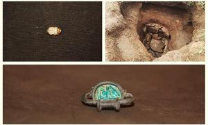Portada-La tumba de la 'princesa etrusca' y dos de los objetos descubiertos en su interior. Fotografías: Archaeological site of Vulci