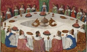 Portada - El rey Arturo y los caballeros de la Mesa Redonda ante una visión del Santo Grial. Fuente: Dominio público