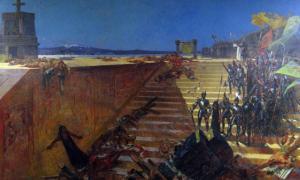 """Portada-""""Los últimos días de Tenochtitlán, la conquista de México por Hernán Cortés,"""" pintura del siglo XIX obra de William de Leftwich Dodge. (Public Domain)"""