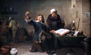 Portada - Doctor de pueblo examinando la orina de una muestra (década de 1640), óleo de David Teniers el Joven. Fuente: Dominio público