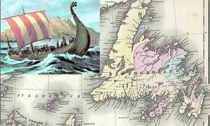 Portada-Representación artística de un barco vikingo. (CC BY 3.0) Detalle de Terranova en un mapa de la región de 1858 en el que aparecen Nueva Brunswick, Nueva Escocia, Terranova y la isla del Príncipe Eduardo. (Public Domain)