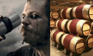 Portada - Bebiendo de un cuerno vikingo. (CC BY SA 3.0) Barriles de roble para vino. (Sanjay Acharya/ CC BY SA 3.0)