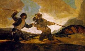 """Portada - """"Duelo a garrotazos"""", óleo de Francisco de Goya (1819-1823) (Dominio público)"""