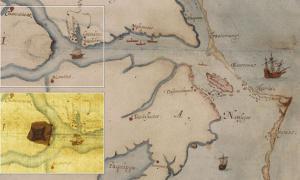 Portada-Mapa a la acuarela de Roanoke y sus alrededores pintado por John White