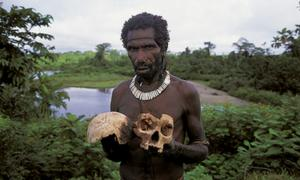 Portada-Comedores-Cerebros--miembro-Tribu-Fore-Papua-Nueva-Guinea-muestra-craneo.jpg