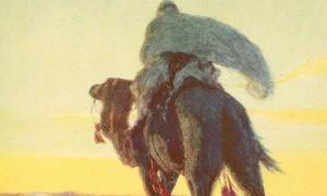 """Mahoma y Abu Bakr huyen de La Meca, como se muestra en """"El esbozo de la historia""""."""