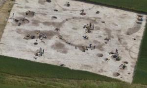 Sitio arqueológico de la excavación cerca de Winterborne Kingston en Dorset.