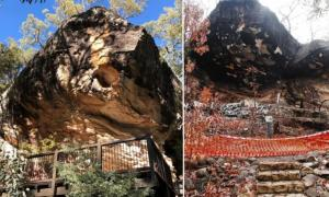 Baloon Cave, antes (izquierda) y después (derecha) de la explosión de 2018 que destruyó el antiguo arte rupestre aborigen. Fuente: Paul Tacon (después) / Selina Goodreid (Antes)
