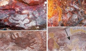 Surtido de arte rupestre aborigen encontrado en el sitio Yilbilinji en el Parque Nacional Limmen, Australia. Fuente: L.M. Brady / Antiquity Publications Ltd