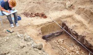 Representación del descubrimiento del esqueleto en el sitio arqueológico de Rakhigarhi. Fuente: Elena / Adobe Stock.