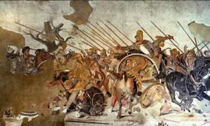 famoso mosaico de Alejandro, que muestra la batalla de Issus. Alejandro está representado montado, a la izquierda.