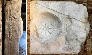 Vistas de las dos caras esculpidas del Bloque Star-Shield en Venecia: identificadas como parte de una tumba griega del siglo III a. C.