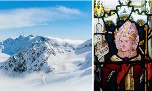 izquierda: representación de un glaciar alpino. (ryszard filipowicz/ Adobe stock). Derecha: representación del siglo XIX de Santo Tomás Becket, que muestra una espada perforando su cabeza. Iglesia de San Pedro, Berkhamsted, Hertfordshire, Reino Unido. (Cnbrb / CC BY-SA 4.0)