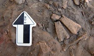 Colgantes de Hueso, visto a la derecha, hallados en el sitio arqueológico en el interior de Alaska.