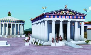 Reconstrucción del siglo IV a. C. Templo de Asklepios en Epidauros (derecha) que muestra la rampa Fuente: © 2019 J. Goodinson, asesor científico, J Svolos. Antiquity Publishers Ltd