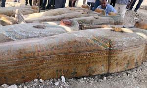 Algunos de los veinte ataúdes encontrados en la necrópolis de Assasif. Fuente: Ministry of Antiquities