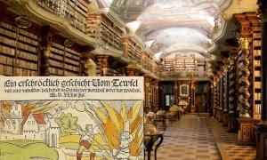 La Biblioteca Nacional de la República Checa en Praga es mejor conocida por su biblioteca barroca, que se ve en la imagen. Los informes publicados en 2016 afirmaron que una colección de 13.000 libros de ocultismo y brujería que alguna vez fueron parte de la biblioteca de brujas de Heinrich Himmler se encontraron en un depósito que pertenece a la biblioteca. (BrunoDelzant / CC BY 2.0) Insertar: Ejemplo de un relato de 1533 de la ejecución de una bruja acusada de incendiar la ciudad alemana de Schiltach en 15